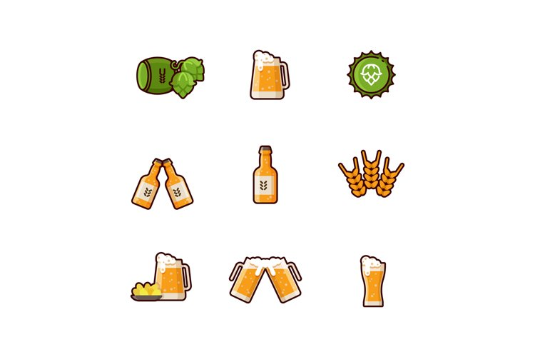 Beer vector line icons isolated on white background