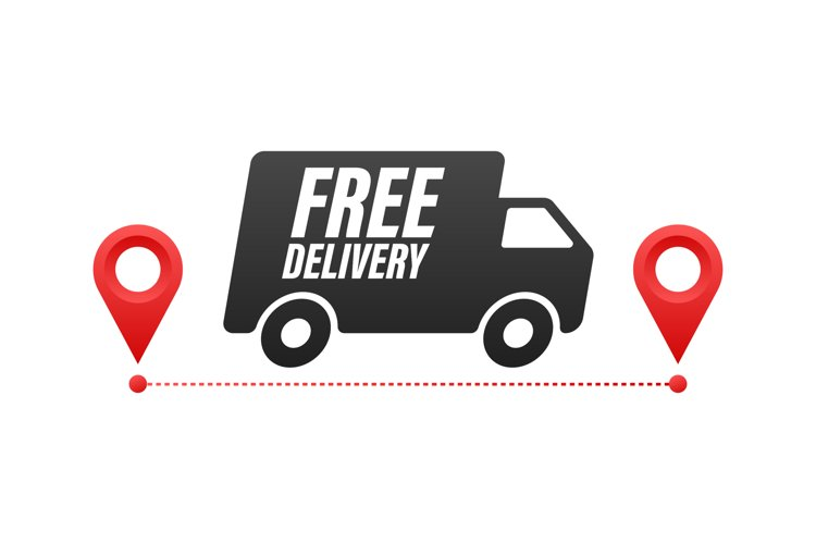 Free delivery. Badge with truck. Vector stock illustrtaion