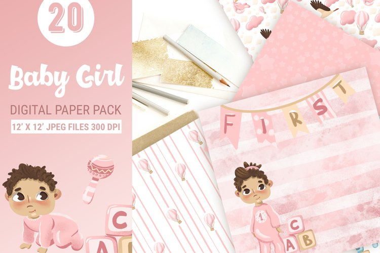 Baby girls paper design for scrapbooking example image 1