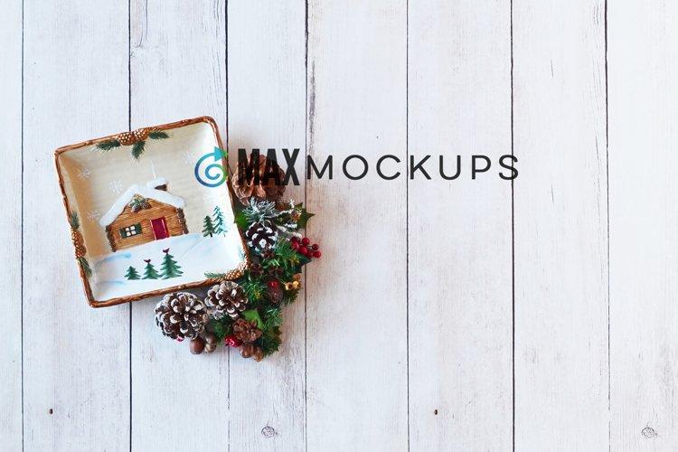 Christmas background Mockup, winter flatlay, rustic display