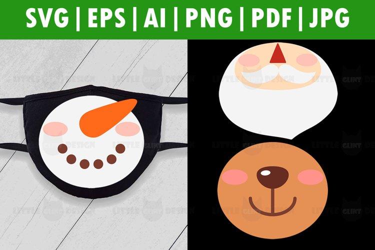 Funny Christmas Face Mask SVG Bundle, Santa, Rudolf, Snowman example image 1