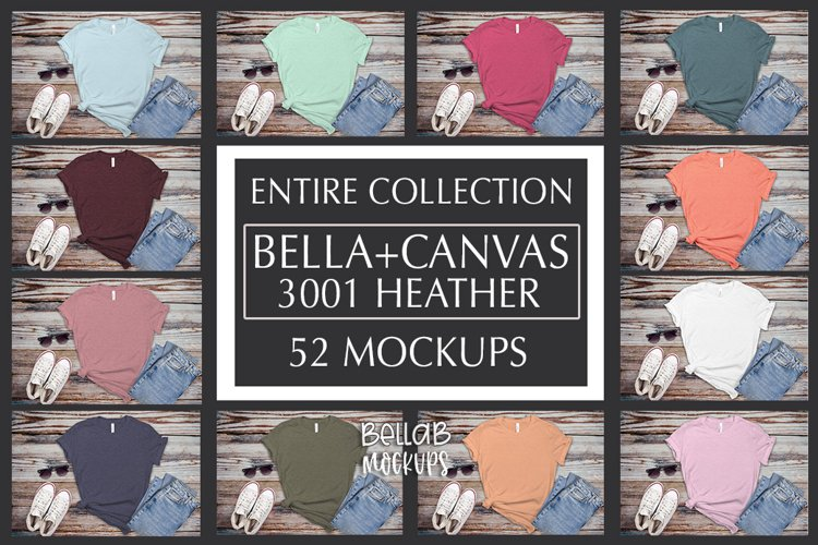 Bella Canvas T Shirt Mockup Bundle, Heather 3001