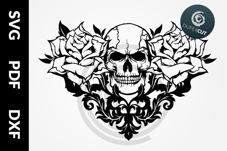 SVG / PDF / DXF Skull with Roses, Papercutting Template