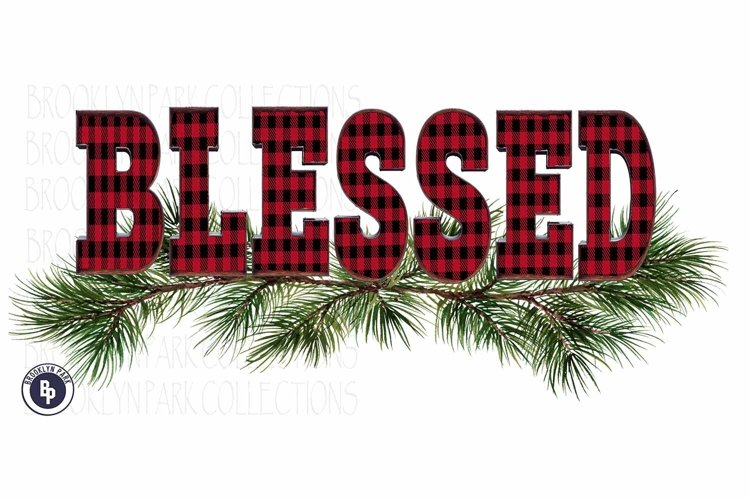 Blessed, Buffalo Plaid, Greenery, Design, Sublimation PNG