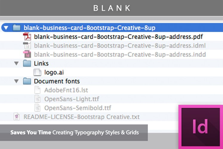 Blank Business Card InDesign Template example 1