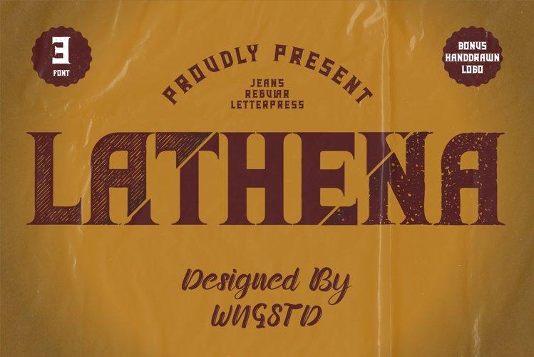 Lathena - letterpress, jeans, regular vintage font example image 1
