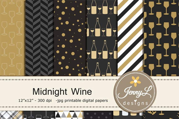 Wine Digital paper, New Year's Eve Digital Papers,  example image 1