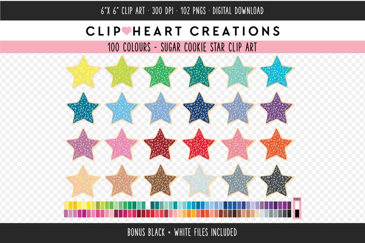 Star Sugar Cookie Sprinkles Clipart - 100 Colours