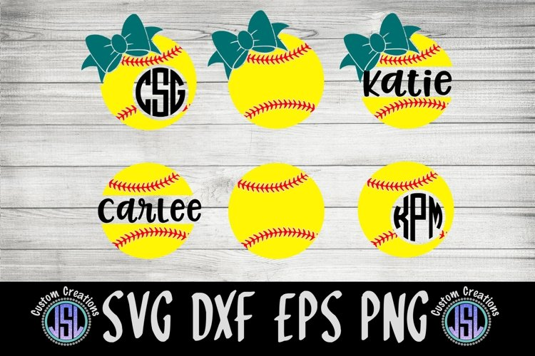 Softball Monogram Frames   Set of 6   SVG DXF EPS PNG