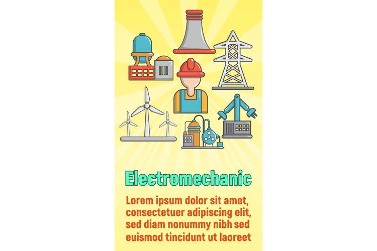 Electromechanic concept banner, cartoon style example image 1