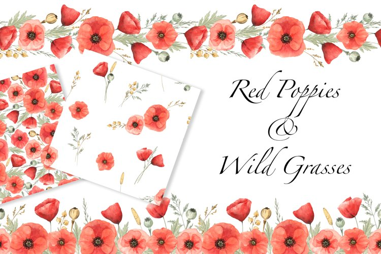 Red Poppies and Wild Grasses, Watercolor clip art, PNG, JPG example image 1