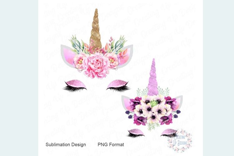 Pink and Purple Unicorn with Flowers PNG example image 1