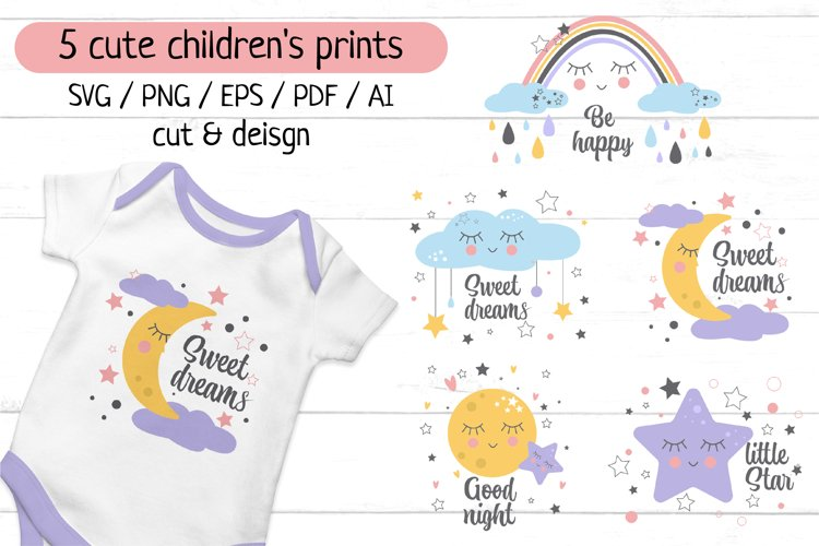 5 cute shildrenss sublimation prints. Cut & design