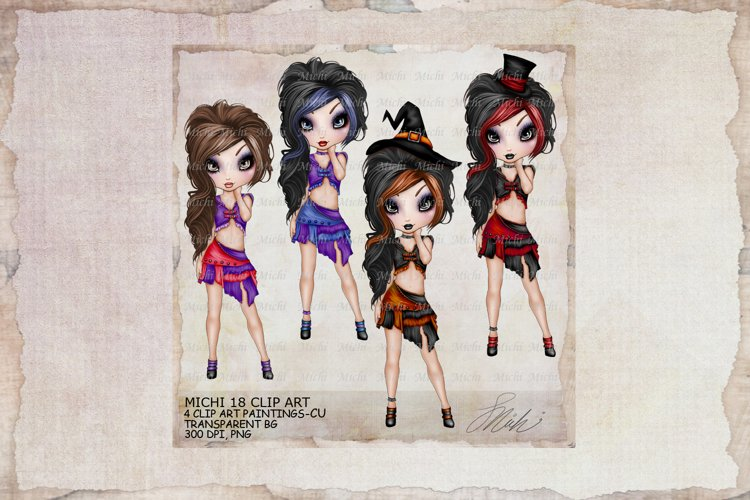 Michi 18 Emo Goth Girl Halloween Witch Clip Art example image 1