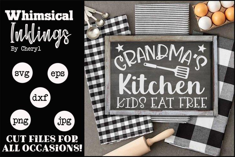 Grandmas Kitchen Kids Eat Free SVG example image 1
