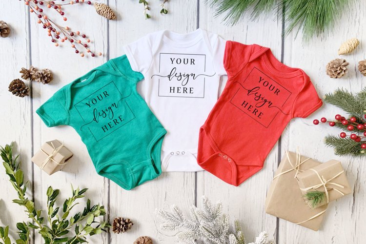 Green Red and White Christmas Winter Onesie Mockup Farmhouse example image 1