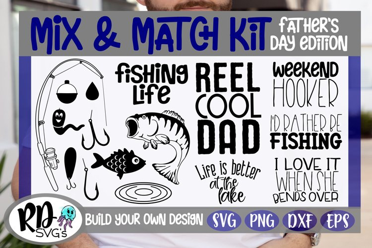 Father's Day Fishing Kit - Build Your Own Design Cut FIle example image 1