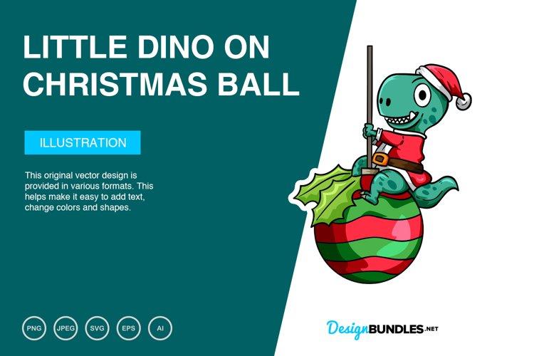Little Dino on Christmas Ball Vector Illustration example image 1
