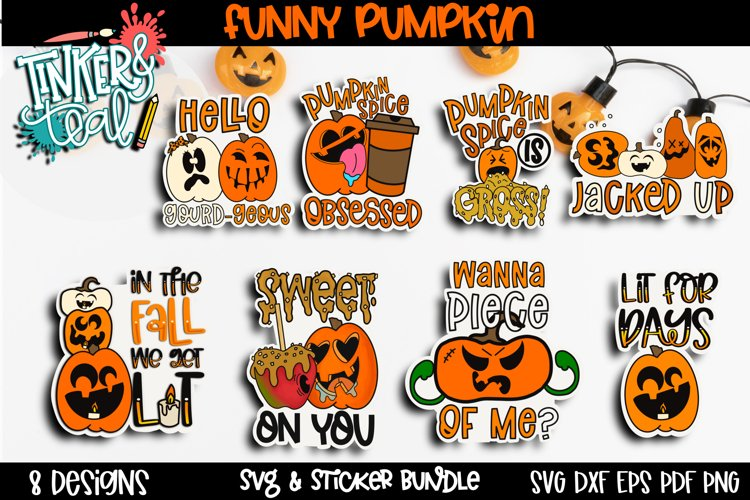 Pumpkin Sticker Bundle - Halloween Digital Stickers - SVG