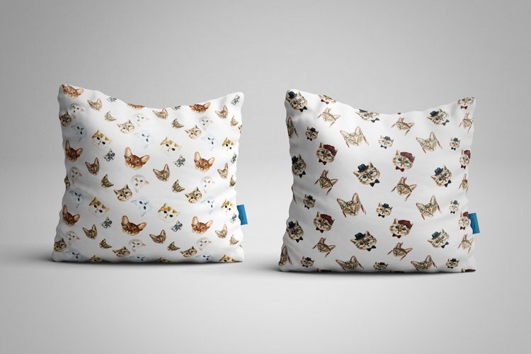 Cat watercolor patterns  - Free Design of The Week Design6