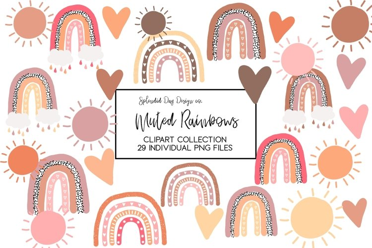 Muted rainbows clipart collection, fall rainbows example image 1