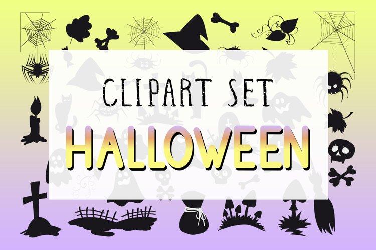Vector set of Halloween clipart.