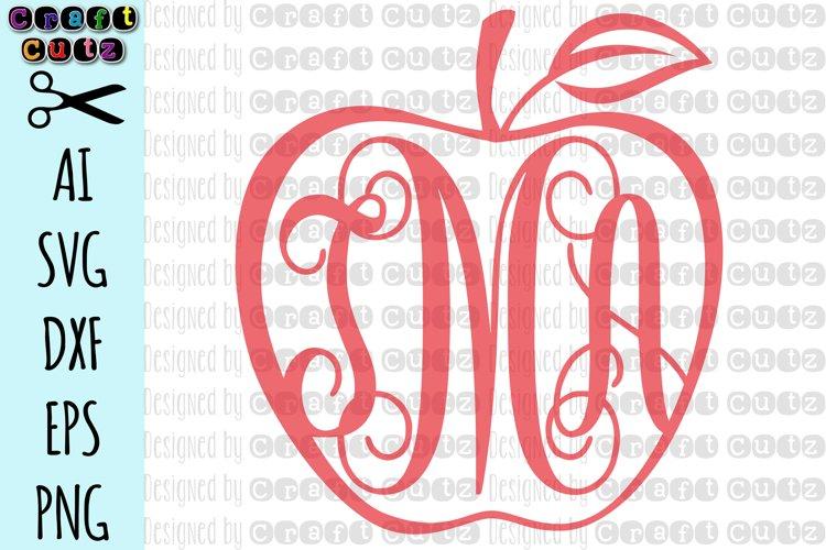 Apple svg, Apple Monogram Cut File, Digital Download, Teacher Monogram, School Monogram Border, Apple Border AI, SVG, DXF, EPS, and PNG