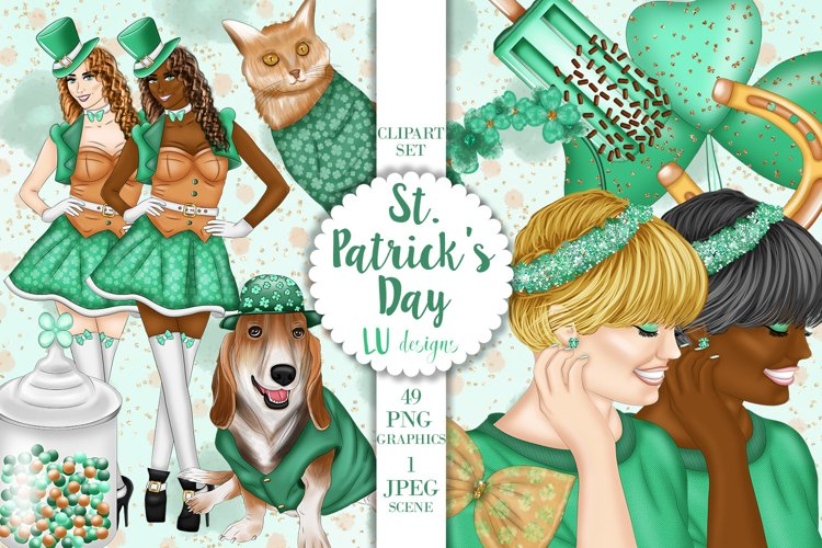St Patricks Day Clipart, Irish Shamrock Lucky Graphics