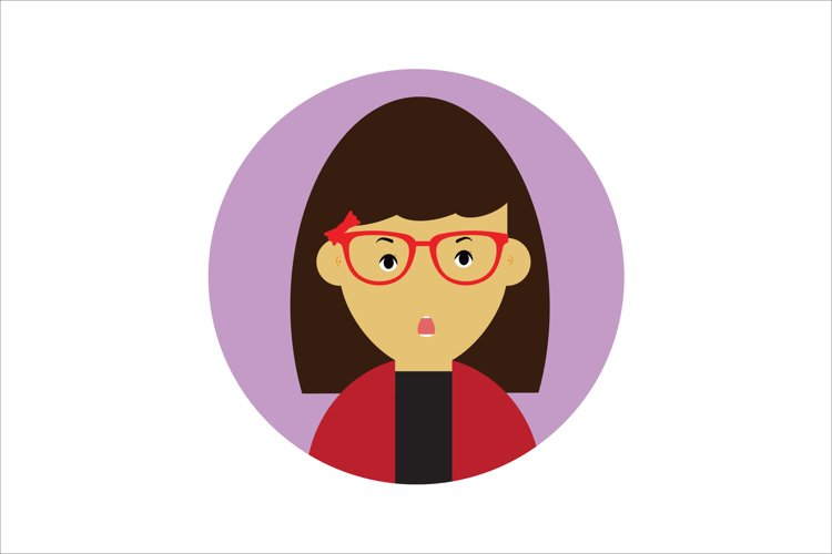 Icon Character Surprised Girl Glasses example image 1