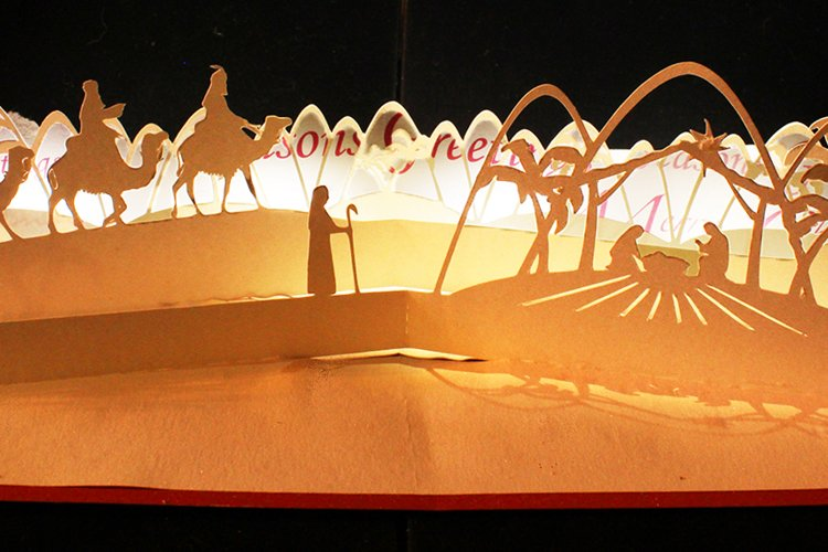 Nativity scene modern pop up card example image 1