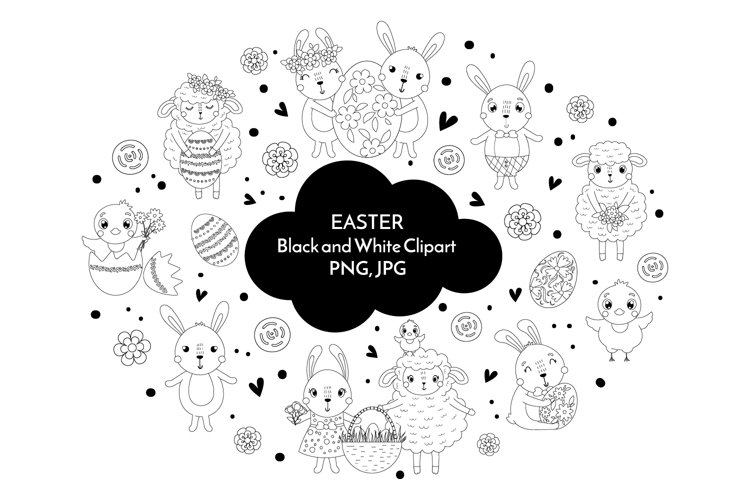 Easter black and white clipart PNG40