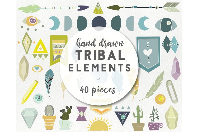 Hand drawn tribal elements - arrow feather crystal clipart example image 1