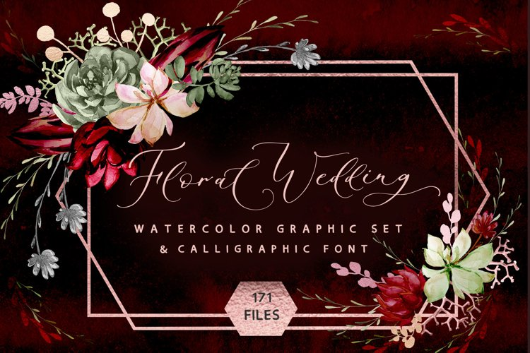 Rustic floral wedding graphic & fonts