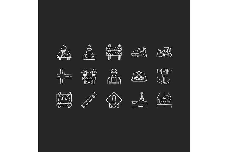 Road works chalk white icons set on black background example image 1