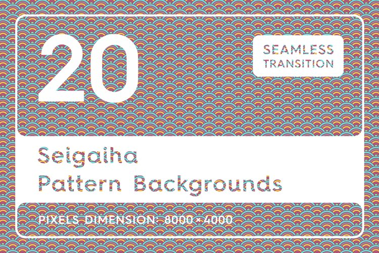 20 Seigaiha Background Textures. Seamless Patterns. example image 1