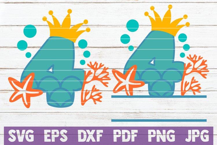 Mermaid Birthday No 4 SVG Cut File example image 1