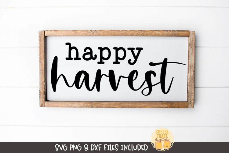 Fall Farmhouse Sign SVG | Happy Harvest example image 1