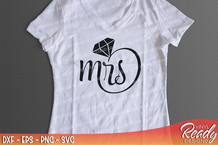 Mrs - Diamond Ring - Bride Wedding Vector Clip Art - Cutting Files - DXF EPS PNG SVG