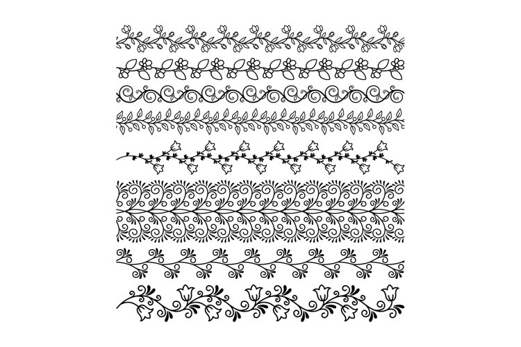 Hand drawn floral line borders example image 1