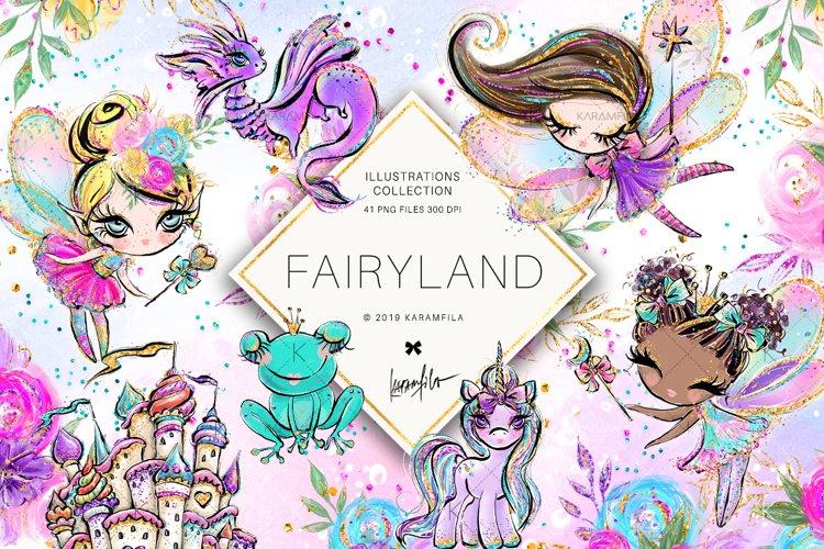 Fairy Clipart, Unicorn Dragon Frog Castle Clipart example image 1
