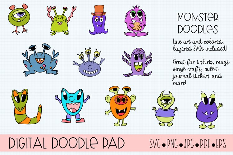 Doodle Monsters SVG Cut Files for Cricut and Silhouette example image 1