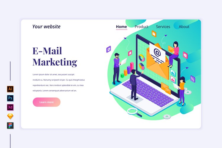 Isometric E-mail marketing concept Landing page illustration example image 1