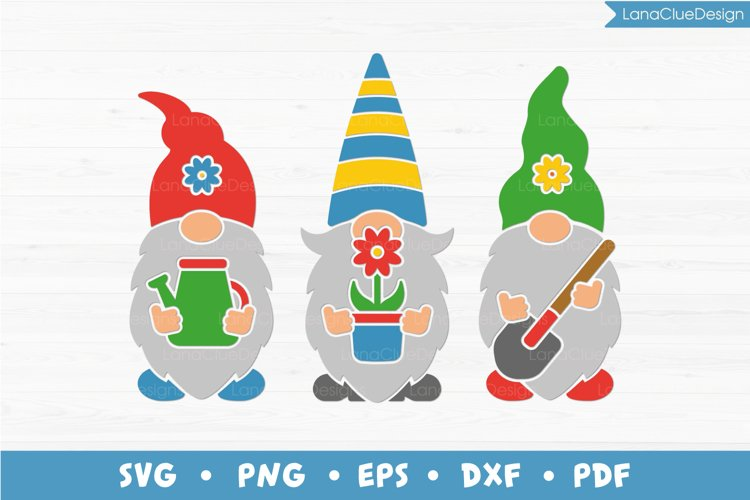 Garden Gnomes SVG, Gnomes with Garden Tools and Plant