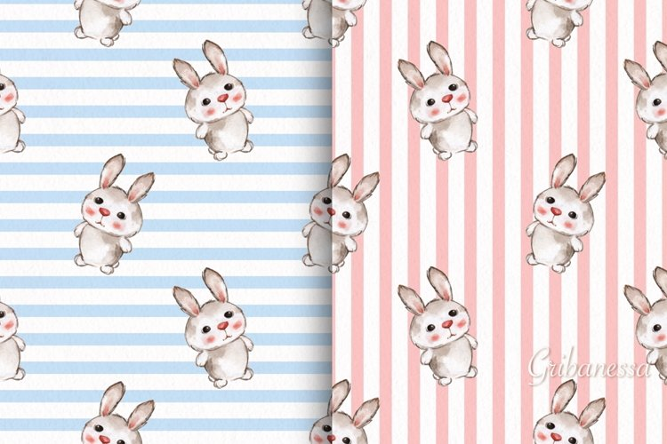 Cute rabbits. 2 seamless striped patterns with baby animals example image 1