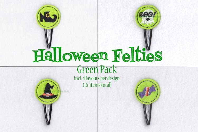 Halloween ITH Green Set of 4 Embroidery Designs example image 1
