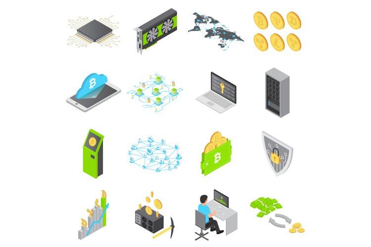 Blockchain technology icons set, isometric style example image 1