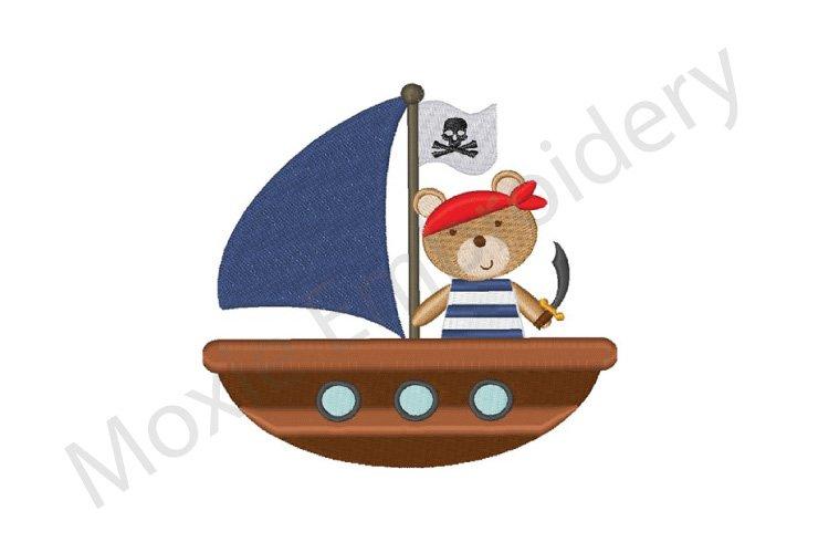 Pirate Embroidery Design, Teddy Bear Pirate Design