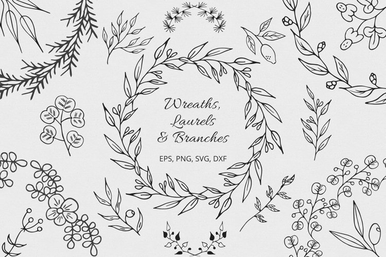 Hand Drawn Wreaths Laurels And Branches Collection 161935 Illustrations Design Bundles