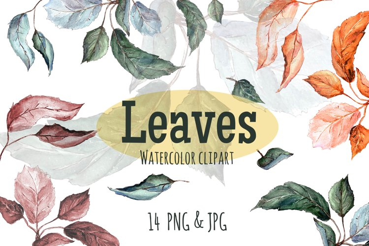 Leaves. Watercolor clipart example image 1