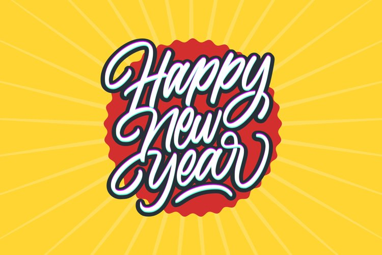 Happy New Year Calligraphy Text Card